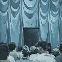 José Morbán, El discurso (s/f), (2018). Oleo sobre tela. Imagen cortesía de Casa Quién