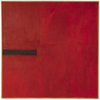 T. C. Cannon (Caddo/Kiowa), New Mexico Red, ca. (1967). Acrylic on canvas. MoCNA Collection. Image courtesy of the Institute of American Indian Arts