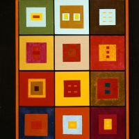 "Lloyd Henri ""Kiva"" New (Cherokee), Untitled (Squares) (1968). Acrylic on canvas, wood. MoCNA Collection. Image courtesy of the Institute of American Indian Arts"