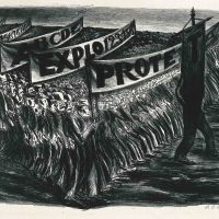 José Clemente Orozco, Manfiestación (Demonstration or Parade), (1935). Lithograph, 15 3/16 x 21 5/16 in., Blanton Museum of Art, The University of Texas at Austin, Archer M. Huntington Fund, 1986