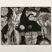 Courtney Moyah (White Mountain Apache/Akimel O'odham/Tohono O'odham), Cow's Life (1969). Etching on paper. MoCNA Collection. Image courtesy of the Institute of American Indian Arts