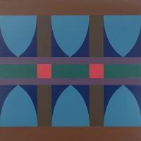 Neil Parsons (O'mahk-Pita, Tall Eagle) (Piikani), Parfleche #32 (1965). Acrylic on canvas. MoCNA Collection. Image courtesy of the Institute of American Indian Arts