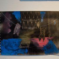 Ray Medina, Un año con doce meses de enero (detalle), 2019. Mixta sobre lienzo y papel. 140 cm x 130 cm. Imagen cortesía de Violenta
