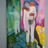 Stephano Espinoza, Espero que me vengas a ver, 2019. Óleo y acrílico sobre lienzo. 215 cm x 122 cm. Imagen cortesía de Violenta