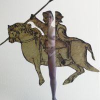 Yo/Cortés Collage autorretrato y códice Moctezuma, impresión sobre papel 2019