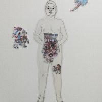 Vísceras Collage, acetato e impresión sobre papel. Autorretrato y Códice Vaticano A 2019