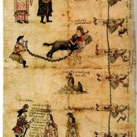 """Manuscrito del aperreamiento. Biblioteca de Francia código BNP374. Castigo aplicado a los señores de Coyoacán que consistía en """"echar los perros a uno para que lo maten y lo despedacen"""""""