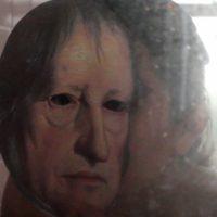 YO/HEGEL Still video performance mirándose al espejo siendo Hegel. 2018