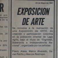 invitación a Dignidad, Soberanía e Independencia Nacional, exposición de arte en Lago Agrio publicada el 24 de mayo de 1987, en La Artefactoría, Centro de Arte Contemporáneo de Quito, 2019. Fotografía: Pablo Jijón. Comunicación y Diseño, Centro de Arte Contemporáneo de Quito
