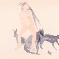Luz Ángela Lizarazo, Animales de poder- la fuerza vital (2016). Acuarela sobre papel. Imagen cortesía de Casa Hoffmann