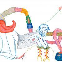 Mariana Portela Echeverri,El Canto De Las Válvulas (2019). Libro de ensamblaje manual, dibujo, texto, impresión digital, corte láser, mecanismo desplegable manual.Imagen cortesía de Casa Hoffmann