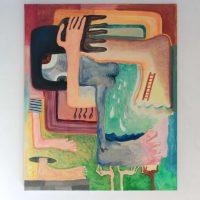 Lucía Vidales, ¿Cuántas manos han tocado tus manos? (2019). Óleo y acrílico sobre tela, 120 x 100. Imagen cortesía de Galería Alterna