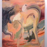 Lucía Vidales, Le dicen sombra y la maldicen (2019). Óleo y acrílico sobre tela, 90 x 80 cm. Imagen cortesía de Galería Alterna