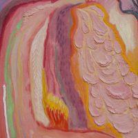 Lucía Vidales, Solo un brazo, solo una oreja, una sola pierna y un solo pie (detalle) (2019). Oleo y acrilico sobre tela, 90 x 70 cm. Imagen cortesía de Galería Alterna
