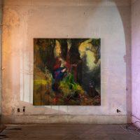 Fernando Lindote, The Anthropophagic Empress, 2018. Oil on canvas, 200 x 200 cm. Installation view. © Renato Mangolin. Image courtesy of Bernardo Mosqueira