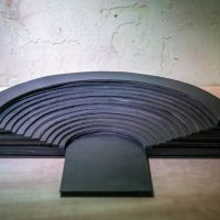 Ana Mazzei, Rubber Theatre, 2015. Industrial rubber, 15 x 30 x 15 cm. Installation view. © Renato Mangolin. Image courtesy of Bernardo Mosqueira