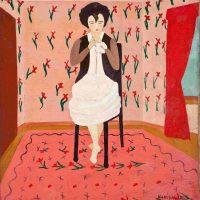 Djanira da Motta, Costureira (1951), Tempera on canvas, 45 x 54 cm, Museu Nacional de Belas Artes/IBRAM collection, Rio de Janeiro, photo: Jaime Acioli