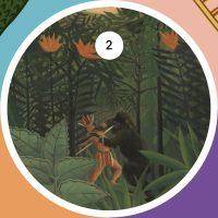 Paisaje Tropical, Indio americano luchando con un gorila. Óleo de Henri Rousseau, pintado en 1910.