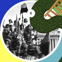 Integrantes del Frente Sandinista de Liberación Nacional festejan frente al Palacio Nacional el triunfo de la revolución en contra de la dictadura de la familia Somoza, el 19 de julio de 1979.