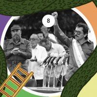 Tras la victoria sandinista y el proceso de la Junta de Reconstrucción Nacional, Daniel Ortega (líder del FSLN), acompañado por Fidel Castro, asume la presidencia como el primer gobierno democráticamente electo desde 1936, el 10 de enero de 1985.