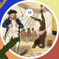 Caricatura británica de 1792, representando un evento real, en el que el Capitán John Kimber suspendió de un pie a una joven esclava de 15 años, torturándola y azotándola hasta causar su muerte.