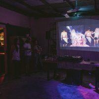 Olivia Neutron Bomb presents Trans World: Manifesting Multiple Universes in the Contemporary Workplace. Screening/performance. Fruity cocktail bar. Photo by Tasya Menaker. Photo courtesy of AKI AORA