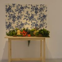 Natascha de Cortillas Diego, Cosecha: siembra y resistencia (2019). Instalación de mesa con hortalizas que el público puede llevarse. Imagen cortesía de la artista