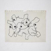 Detalle de exhibición, Dibujos de Sitio, Parallel Oaxaca, imagen cortesía de los artistas