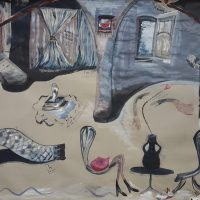 Maruki Nowacki, La realidad del yo trasladada a las cosas (2019). Tinta sobre papel. Foto por Lulo Demarco