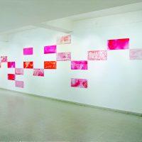 Graciela Hasper, Es roja (1995). 20 placas de vidrio pintadas con esmalte sintético. Propiedad de la artista