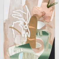 Deborah Anzinger, Coy, 2016, Acrylic, styrofoam, Aloe barbadensis, and mirror on canvas.