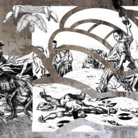 Leasho Johnson, Death of the Sound boy, 2019, Wallpaper, spray paint.