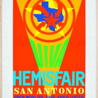 Robert Indiana, Study for Viva HemisFair poster (1967). Collage and graphite on board. Collection of the Tobin Theatre Arts Fund, San Antonio, Texas; 84.2007. Courtesy of the McNay Art Museum, San Antonio, Texas.© 2018 Morgan Art Foundation Ltd. Licensed by Artists Rights Society (ARS), New York, New York