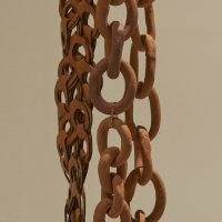 ektor garcia, cadenas perpetuas, 2019, detail. Terra cotta, copper wire, leather, steel ring. Courtesy the artist. Photo: Kyle Knodell