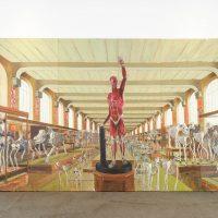 Dennys Navas. El infierno del laboratorio Bells (2019). Técnica mixta sobre lienzo. Imagen por Ricardo Bohórquez. Funka Fest 2019