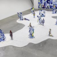 Installation view of Donna Huanca: Obsidian Ladder (2019). Courtesy the artist, Marciano Art Foundation, Los Angeles and Peres Projects, Berlin. Photo by Joshua White/JWPictures.com