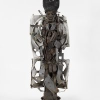 Evel Romain, Bawon samdi (2010). Wood, metal and tires. Courtesy of the artist and Pioneer Works