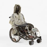 Jean Claude Saintilus, Marinette (2017). Metal, cloth, plastic and skull. Courtesy of the artist and Pioneer Works