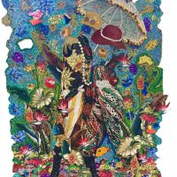 Ebony G. Patterson, A View In (2015). Mixed media jacquard woven tapestry with hand cut elements. Courtesy Jenkins Johnson Collection