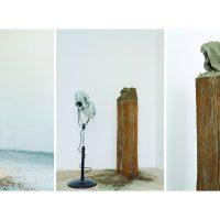 Calixto Ramírez, Un sasso nella scarpa, 2015. Escultura, madera, zapato, arena y ventilador; dimensiones variables; https://vimeo.com/230604020. Imagen cortesía del artista