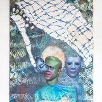 Gala Berger, Siquieres (pueblo mestizo) (2019). Collage, pintura al óleo sobre wax fabric. Imagen cortesía de Elisa Bergel Melo & Casa Quién