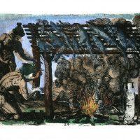Demián Flores, El buen salvaje (2016). Carpeta de 11 aguafuertes coloreados a mano. Impresión: Taller Tigre Ediciones, Ciudad de México