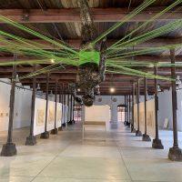 Demián Flores,El Dorado(2019). Centro de las Artes de San Agustín, Etla, Oaxaca, México. Escultura de resina e hilos de algodón