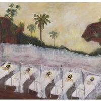 Santiago García Sáenz, Cristos enfermos en las ruinas jesuíticas (1994). Vista de instalación. Imagen cortesía de MAMBA. Foto por Guido Limardo