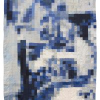 Võ Trân Châu, Blue (2018). Used clothes, thread, 93.3 x 60.2 inches. Image courtesy of the artist and Galerie Quynh, Ho Chi Minh City, Vietnam