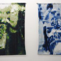 Left: Võ Trân Châu, Green (2018). Used clothes, thread, 93.3 x 60.2 inches. Right: Võ Trân Châu, Blue (2018). Used clothes, thread, 93.3 x 60.2 inches. Image courtesy of the artist, Galerie Quynh, Ho Chi Minh City, and The Mistake Room, Los Angeles