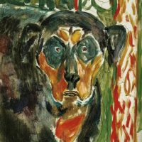 Munch dog painting
