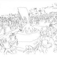 Luis Carlos Hurtado, Atorado carnaval dibujo. Cortesía del artista