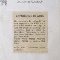 La Artefactoría. Invitación a exposición en Lago Agrio. Recorte de prensa. 1987. Archivo de Arte MAAC. Crédito:Ricardo Bohórquez / MAAC