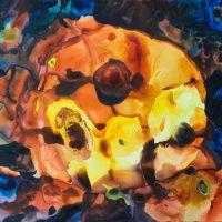 Una pintura mía, retrato de la primera imagen de un Blackhole hecha en colaboración con las redes neuronales de Google